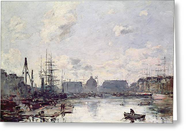 Trading Greeting Cards - The Port of Trade Greeting Card by Eugene Louis Boudin