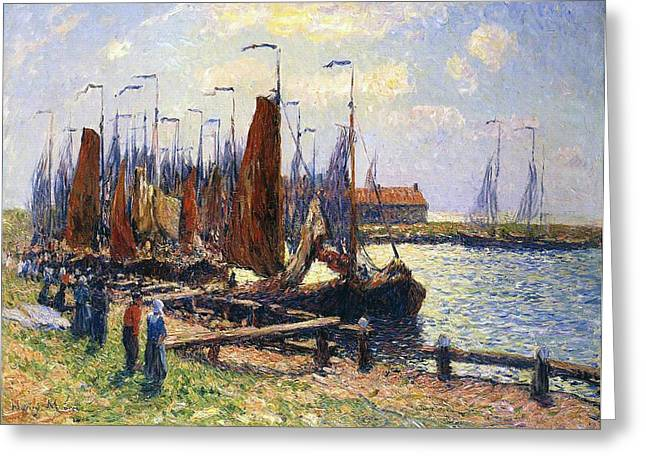 Docked Sailboats Greeting Cards - The Port of Volendam Greeting Card by Henry Moret
