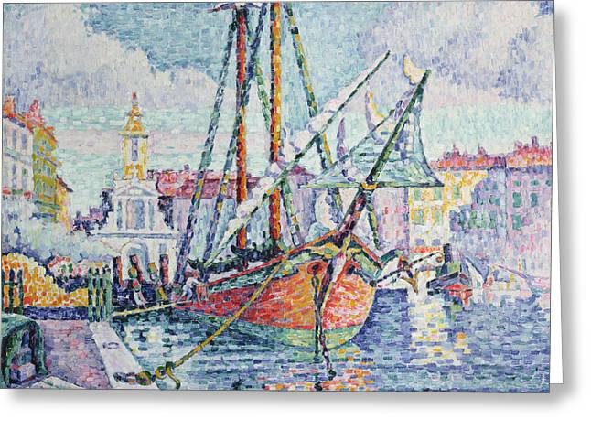 Pointillist Greeting Cards - The Port Greeting Card by Paul Signac