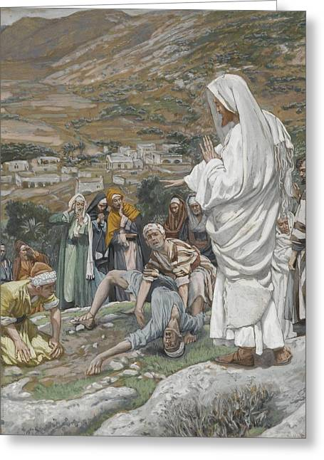 Tissot Greeting Cards - The Possessed Boy at the Foot of Mount Tabor Greeting Card by Tissot