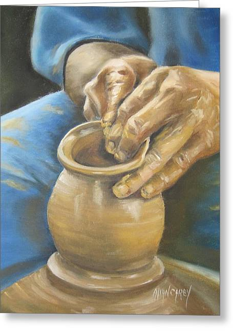 Water Jars Paintings Greeting Cards - The Potter Greeting Card by Allan Carey