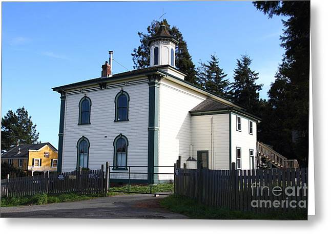 Potter School House Greeting Cards - The Potter School House . Bodega Bay . Town of Bodega . California . 7D12472 Greeting Card by Wingsdomain Art and Photography
