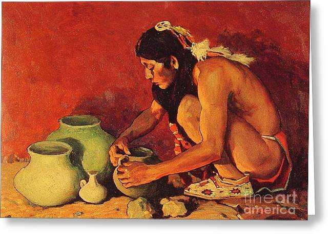 Old West Prints Greeting Cards - The Pottery Maker Greeting Card by Pg Reproductions