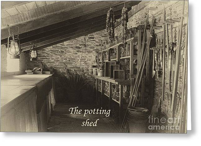 Potting Bench Greeting Cards - The potting shed - aged Greeting Card by Steev Stamford