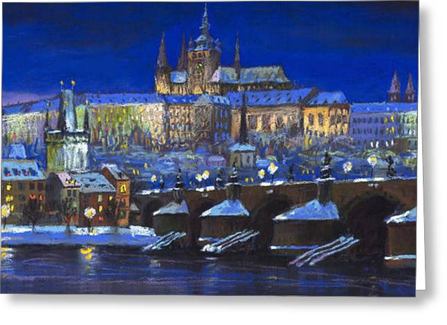 Europe Pastels Greeting Cards - The Prague Panorama Greeting Card by Yuriy  Shevchuk