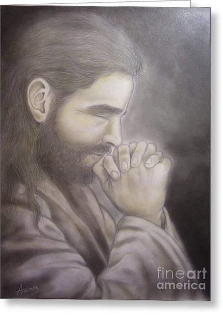 Praying Hands Mixed Media Greeting Cards - The Prayer Greeting Card by Oscar Arauz