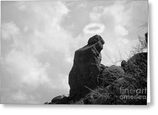 Camelback Mountain Greeting Cards - The Praying Monk with Halo - Camelback Mountain BW Greeting Card by James BO  Insogna
