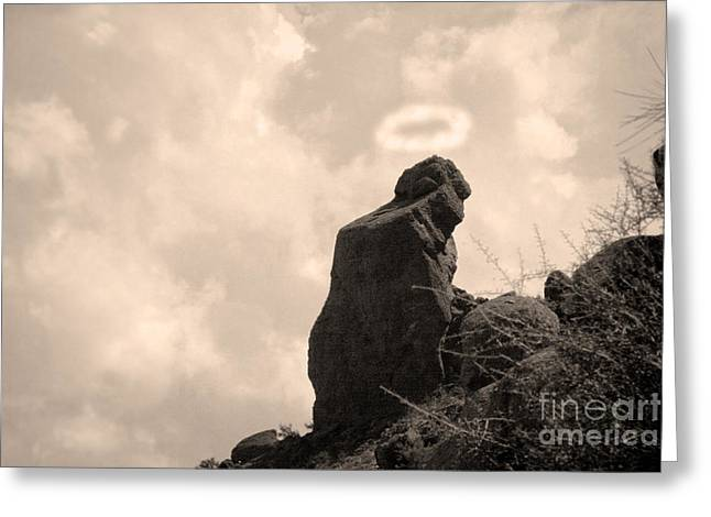 Camelback Mountain Greeting Cards - The Praying Monk with Halo - Camelback Mountain Greeting Card by James BO  Insogna