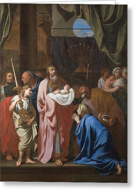 Christ Child Greeting Cards - The Presentation of Christ in the Temple Greeting Card by Charles Le Brun