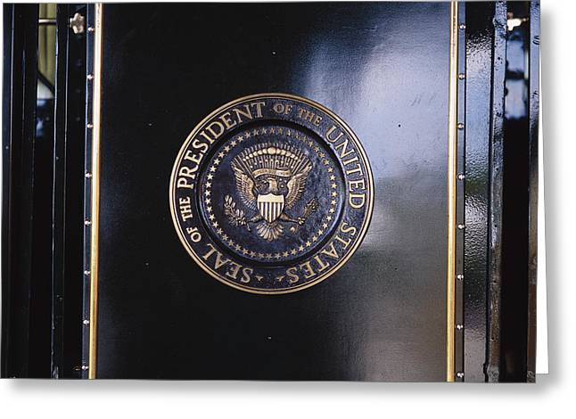 Franklin D. Greeting Cards - The Presidential Seal On The Fdr Train Greeting Card by Raul Touzon