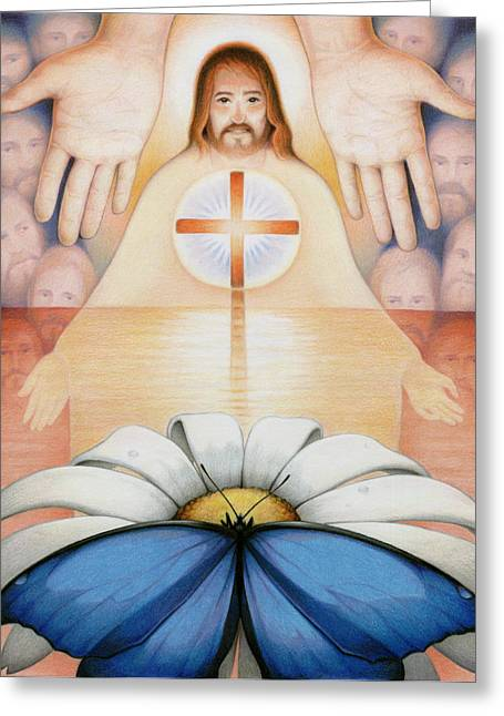 Crucifix Drawings Greeting Cards - The Price And The Promise Greeting Card by Amy S Turner