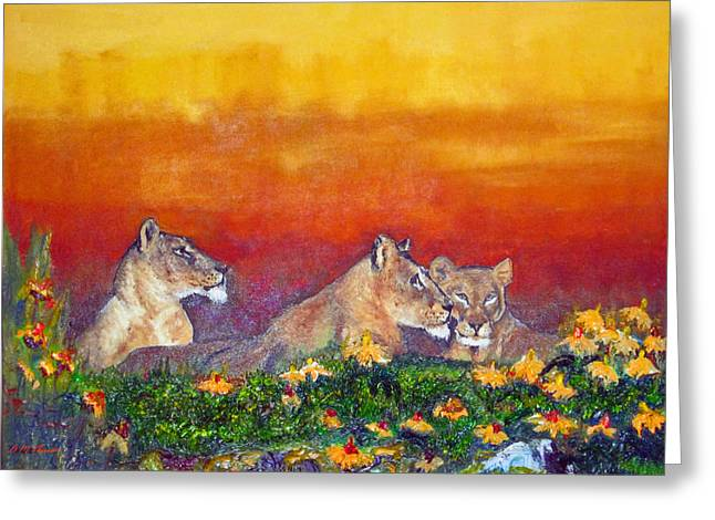 Lioness Greeting Cards - The Pride Greeting Card by Michael Durst