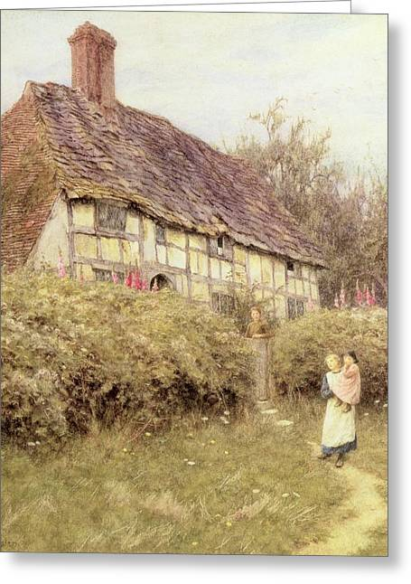 Half-timbered Greeting Cards - The Priests House West Hoathly Greeting Card by Helen Allingham
