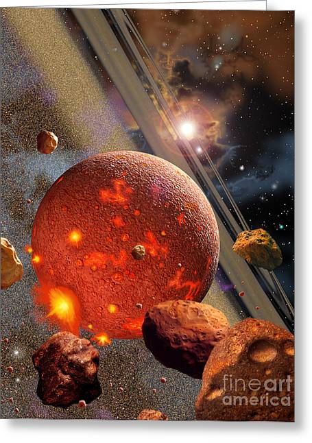 Destiny Greeting Cards - The Primordial Earth Being Formed Greeting Card by Ron Miller