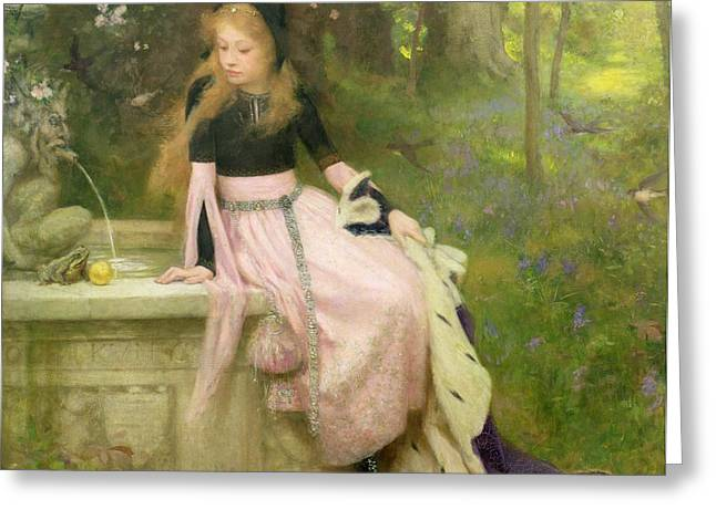 A Kiss Greeting Cards - The Princess and the Frog Greeting Card by William Robert Symonds