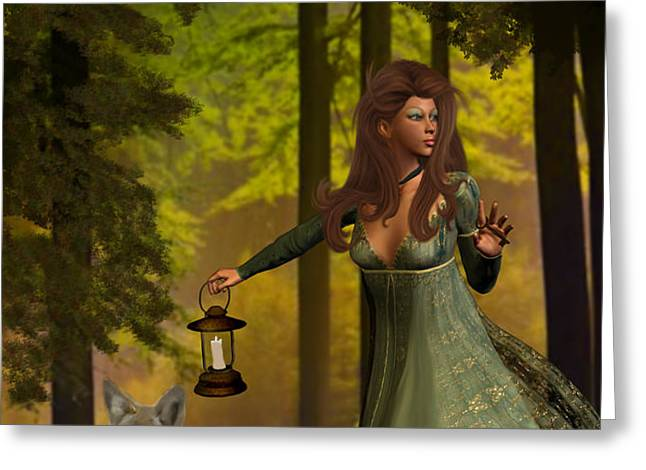 The Princess And The Wolf Greeting Card by Emma Alvarez