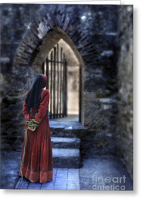 Renaissance Clothing Greeting Cards - The Prisoner Greeting Card by Jill Battaglia