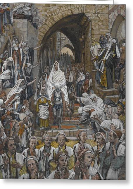 Messiah Greeting Cards - The Procession in the Streets of Jerusalem Greeting Card by Tissot
