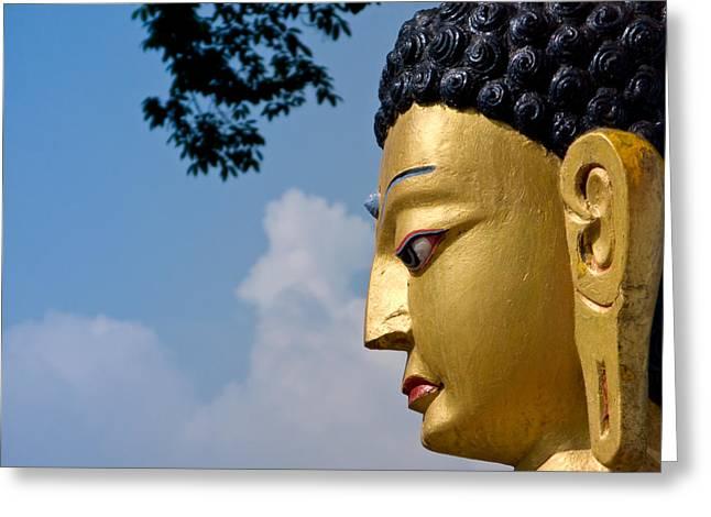 Siddharta Greeting Cards - The profile of Buddha Greeting Card by Nila Newsom
