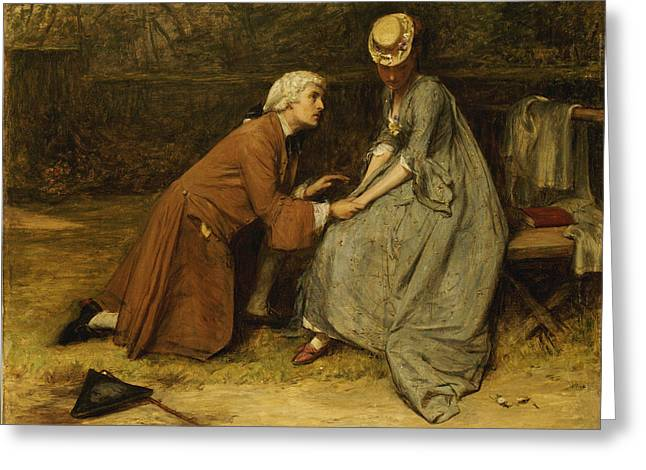Modesty Greeting Cards - The Proposal Greeting Card by John Pettie