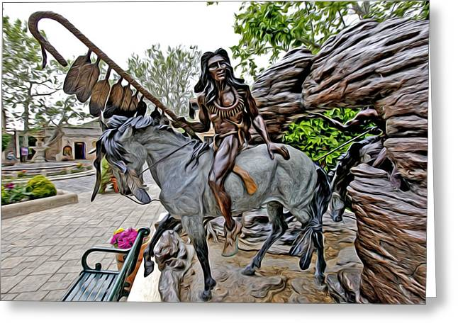 Sculpture Indians Photographs Greeting Cards - The Proud Indian  Warrior Greeting Card by James Steele