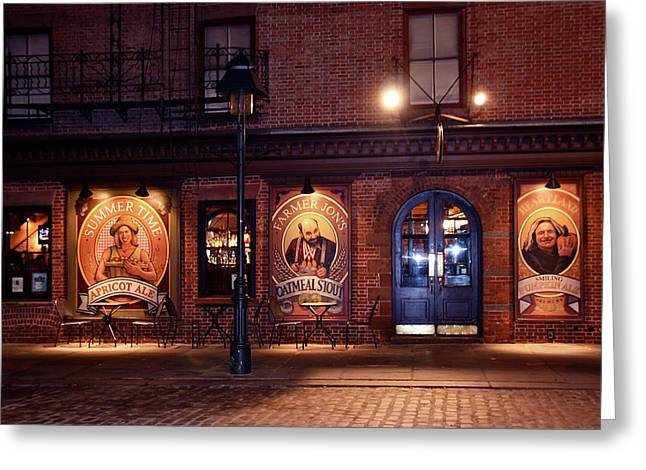 The Pub Greeting Card by Terry Wallace