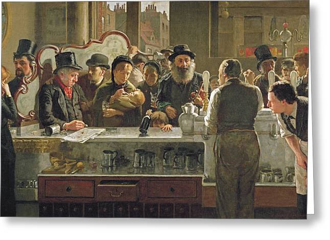 Regular Greeting Cards - The Public Bar Greeting Card by John Henry Henshall