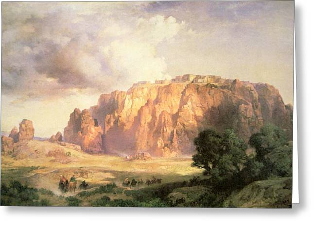 Atmospheric Greeting Cards - The Pueblo of Acoma in New Mexico Greeting Card by Thomas Moran