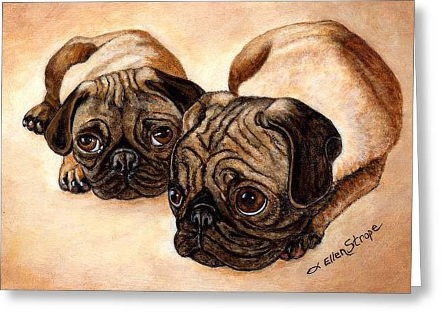 Pug Greeting Cards Greeting Cards - The Pugs Greeting Card by Ellen Strope