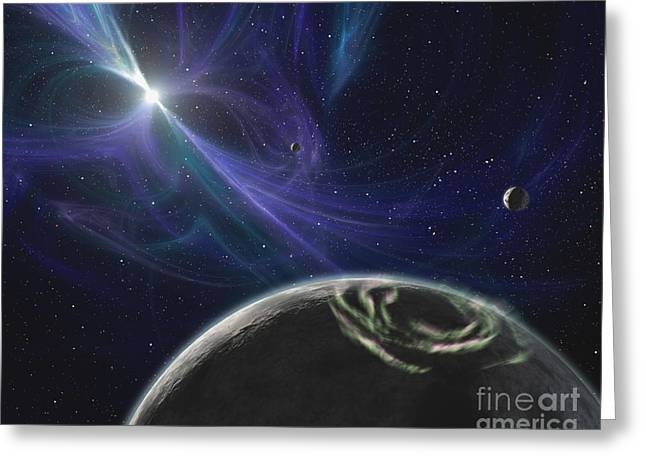 Pulsar Planets Greeting Cards - The Pulsar Planet System Greeting Card by Stocktrek Images