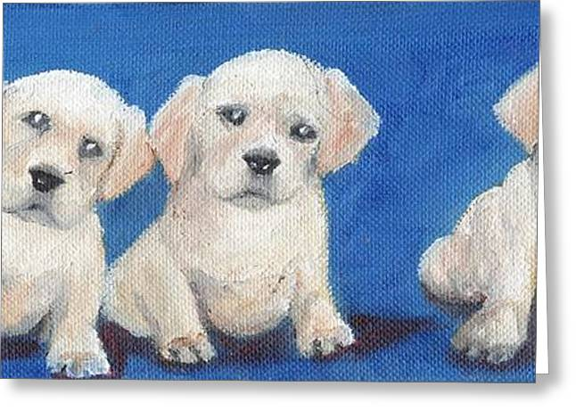 Puppies Paintings Greeting Cards - The Pups 1 Greeting Card by Roger Wedegis