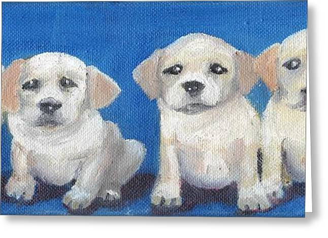 Puppies Paintings Greeting Cards - The Pups 2 Greeting Card by Roger Wedegis