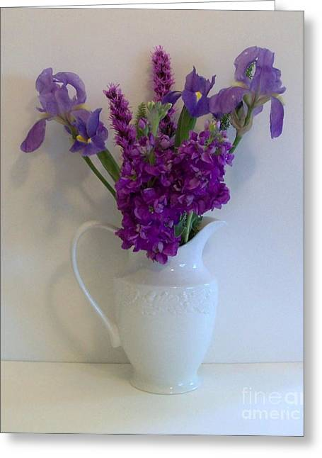Vase Of Flowers Greeting Cards - The Purple Family Greeting Card by Marsha Heiken