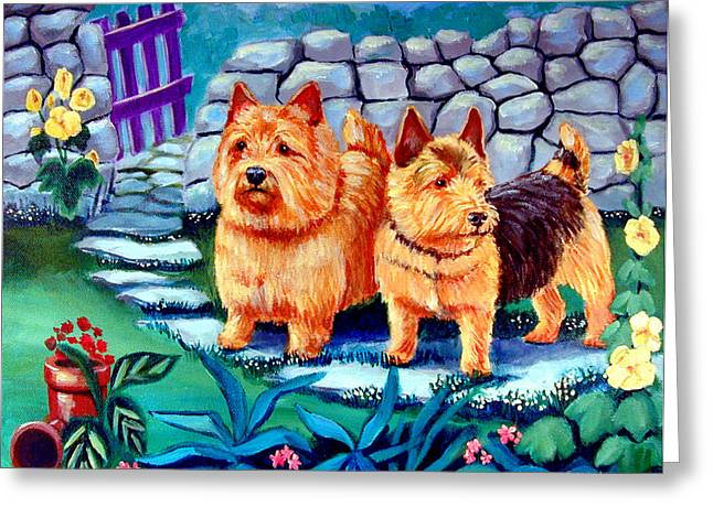 Puppies Paintings Greeting Cards - The Purple Gate - Norwich Terrier Greeting Card by Lyn Cook