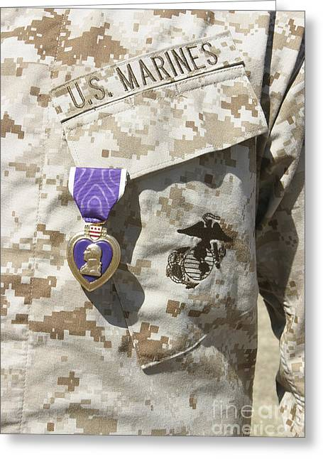 Decoration Day Greeting Cards - The Purple Heart Award Hangs Greeting Card by Stocktrek Images