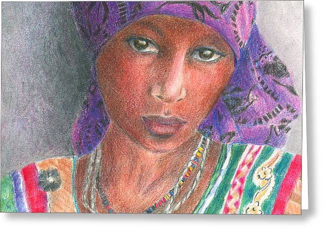 The Purple Scarf  Greeting Card by Arline Wagner
