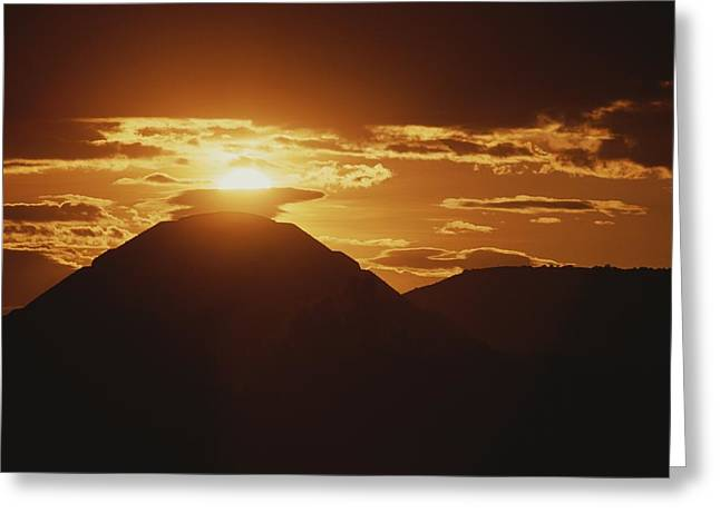 The Pyramid Of The Sun Silhouetted Greeting Card by Kenneth Garrett