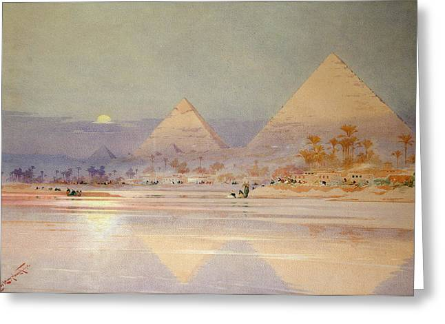 Pyramid Paintings Greeting Cards - The Pyramids at dusk Greeting Card by Augustus Osborne Lamplough