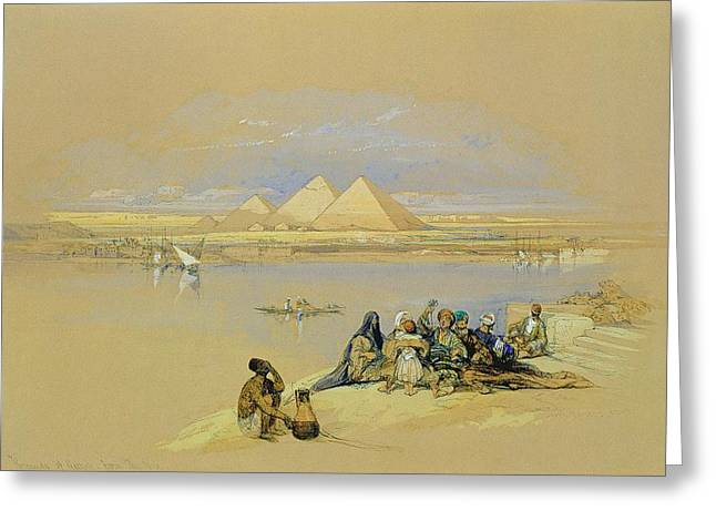 Pyramid Paintings Greeting Cards - The Pyramids at Giza near Cairo Greeting Card by David Roberts