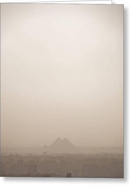 The Pyramids Rise Over The Smog Greeting Card by Taylor S. Kennedy