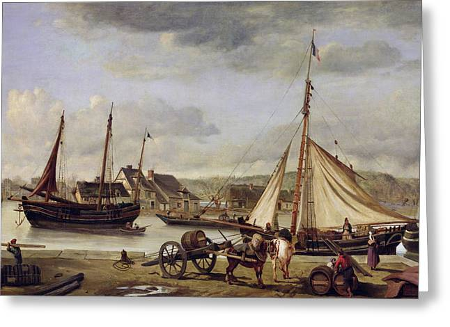 Yachting Greeting Cards - The Quay at Rouen Greeting Card by Jean Baptiste Camille Corot