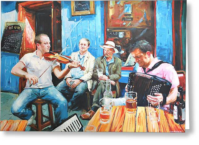 Royal Art Paintings Greeting Cards - The Quay Players Greeting Card by Conor McGuire