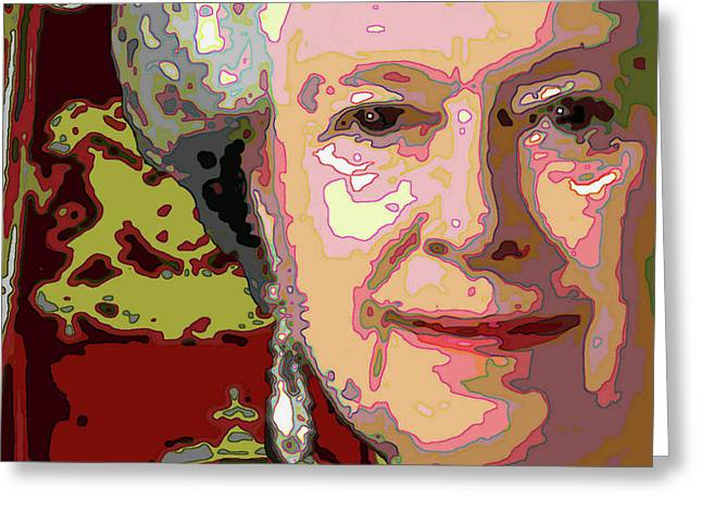 Party Invite Paintings Greeting Cards - The Queen detail Greeting Card by Jann Paxton