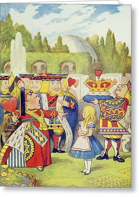 She Greeting Cards - The Queen has come and isnt she angry Greeting Card by John Tenniel