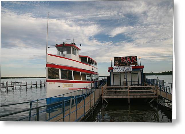 Okoboji Greeting Cards - The Queen II at Dock Greeting Card by Amelia Painter