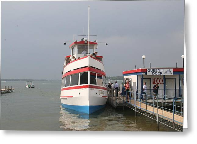 Okoboji Greeting Cards - The Queen II Excursion Boat at Arnolds Park Greeting Card by Amelia Painter