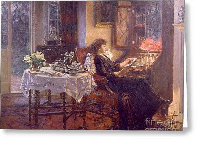 French Door Greeting Cards - The Quiet Hour Greeting Card by Albert Chevallier Tayler