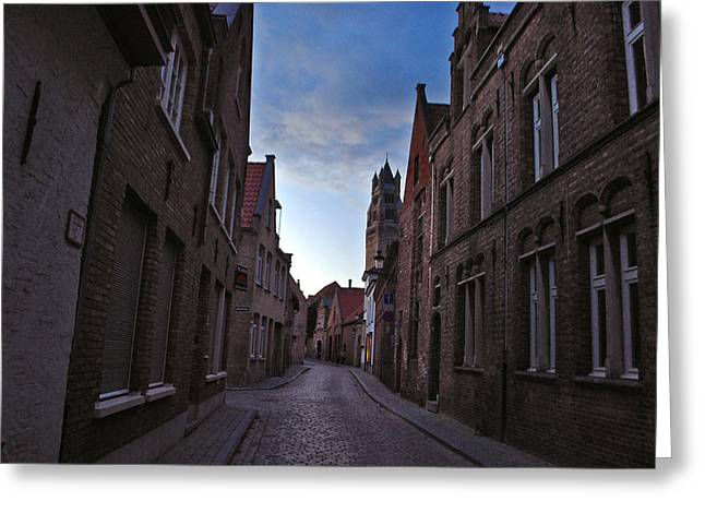 Jeka World Photography Greeting Cards - The Quiet Narrow Cobbled Streets of Bruges Greeting Card by Jeff Rose