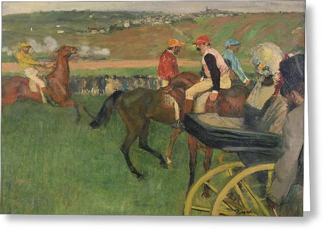 Equestrianism Greeting Cards - The Race Course Greeting Card by Edgar Degas
