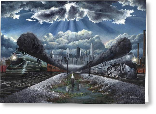 Trains Paintings Greeting Cards - The Race Greeting Card by David Mittner